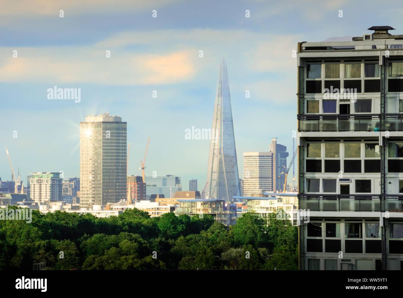 Rich meets poor. London skyline from Battersea Stock Photo