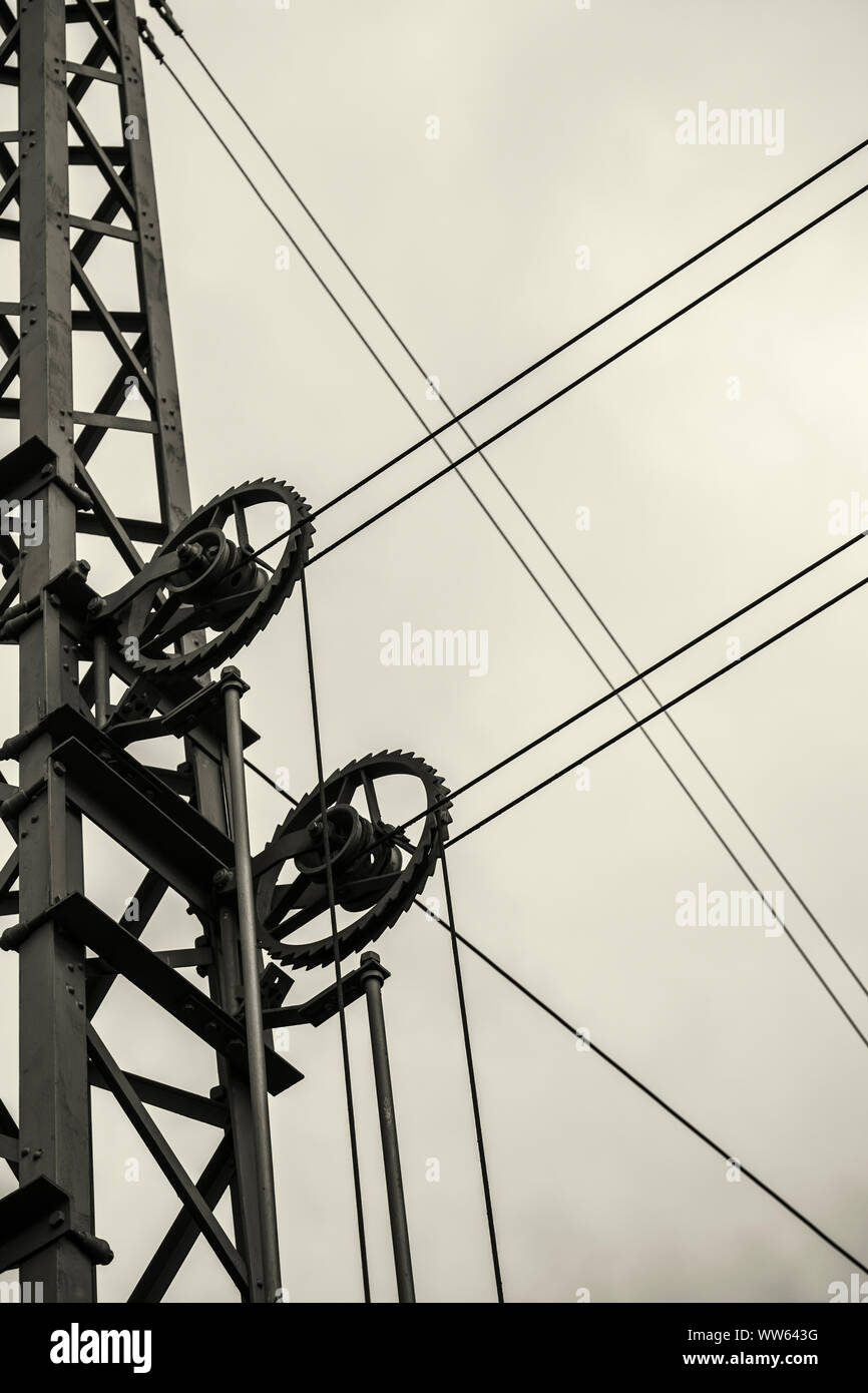 Catenary on a railway track, cutout, abstract, Stock Photo