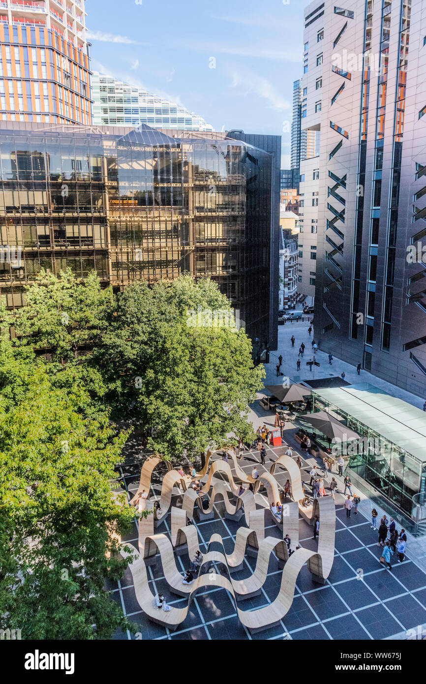 Broadgate, London, UK. 13th Sep 2019. Please be Seated by Paul Cocksedge. in Finsbury Avenue Square. Built from recycled scaffolding planks, repurposed using the innovative technology of Essex-based flooring company White & White, the whole structure can be broken down and transformed into something completely different after the festival, so nothing will be wasted - London Design Festival returns to the capital for its 17th year. Credit: Guy Bell/Alamy Live News Stock Photo