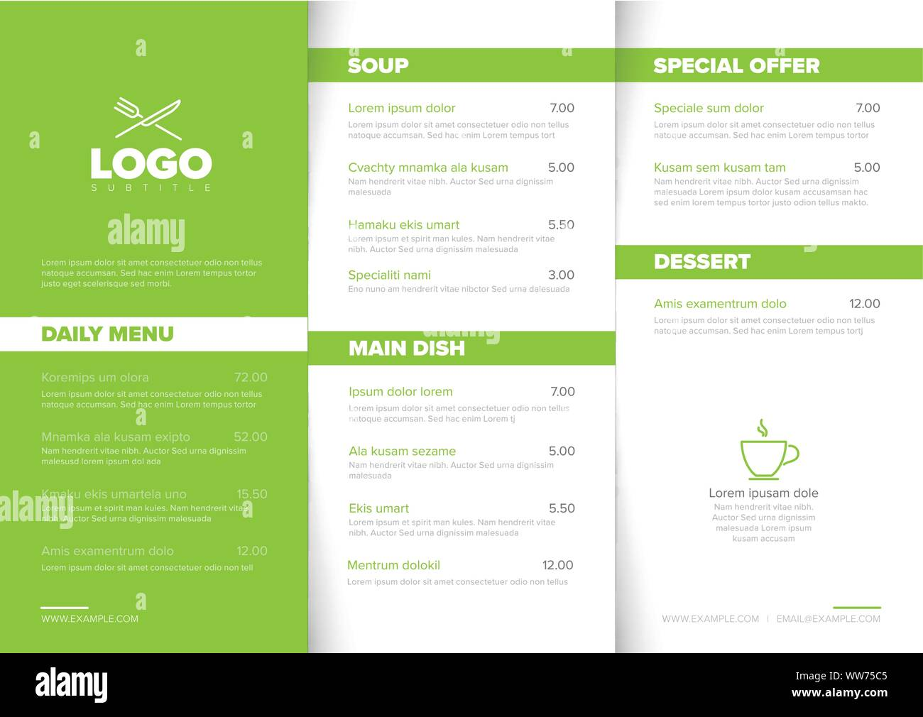 Modern Light Minimalistic Restaurant Menu Template With Three Columns Design Layout Green Accent And Nice Typography Stock Vector Image Art Alamy