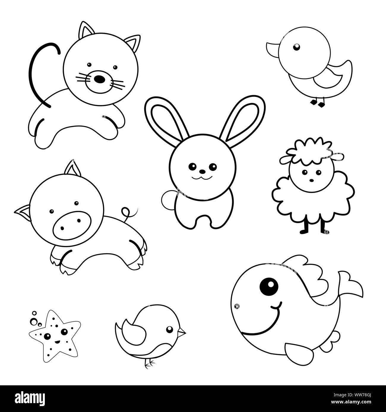 - Coloring Book With Animals Collection. Funny Children Characters