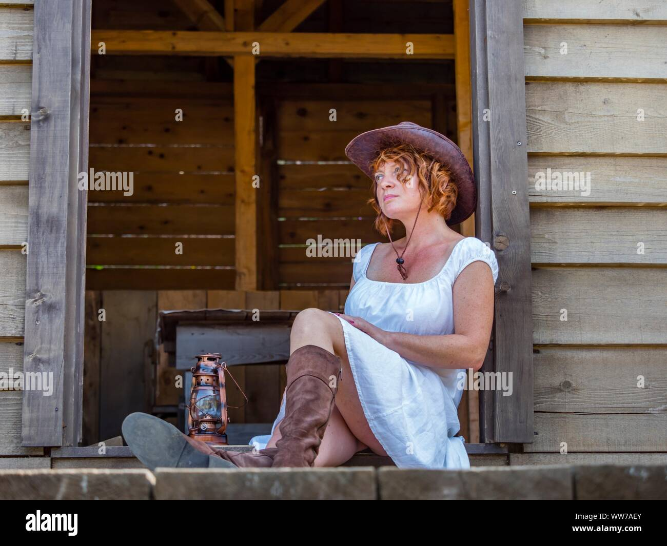 Western style 40s forties woman Stock Photo
