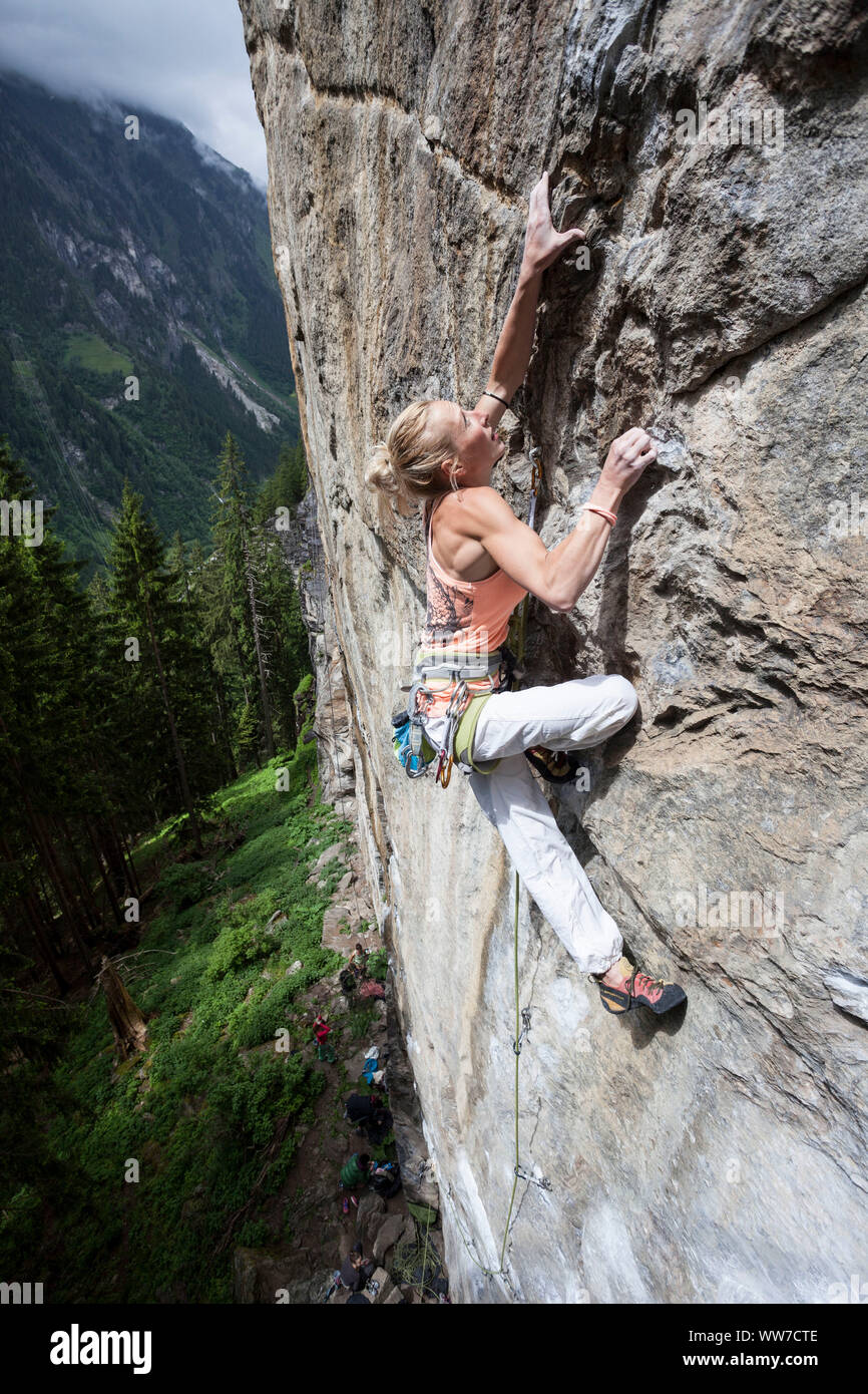 Climber in the climbing garden Ginzling, Zillertal, Tirol, Austria Stock Photo