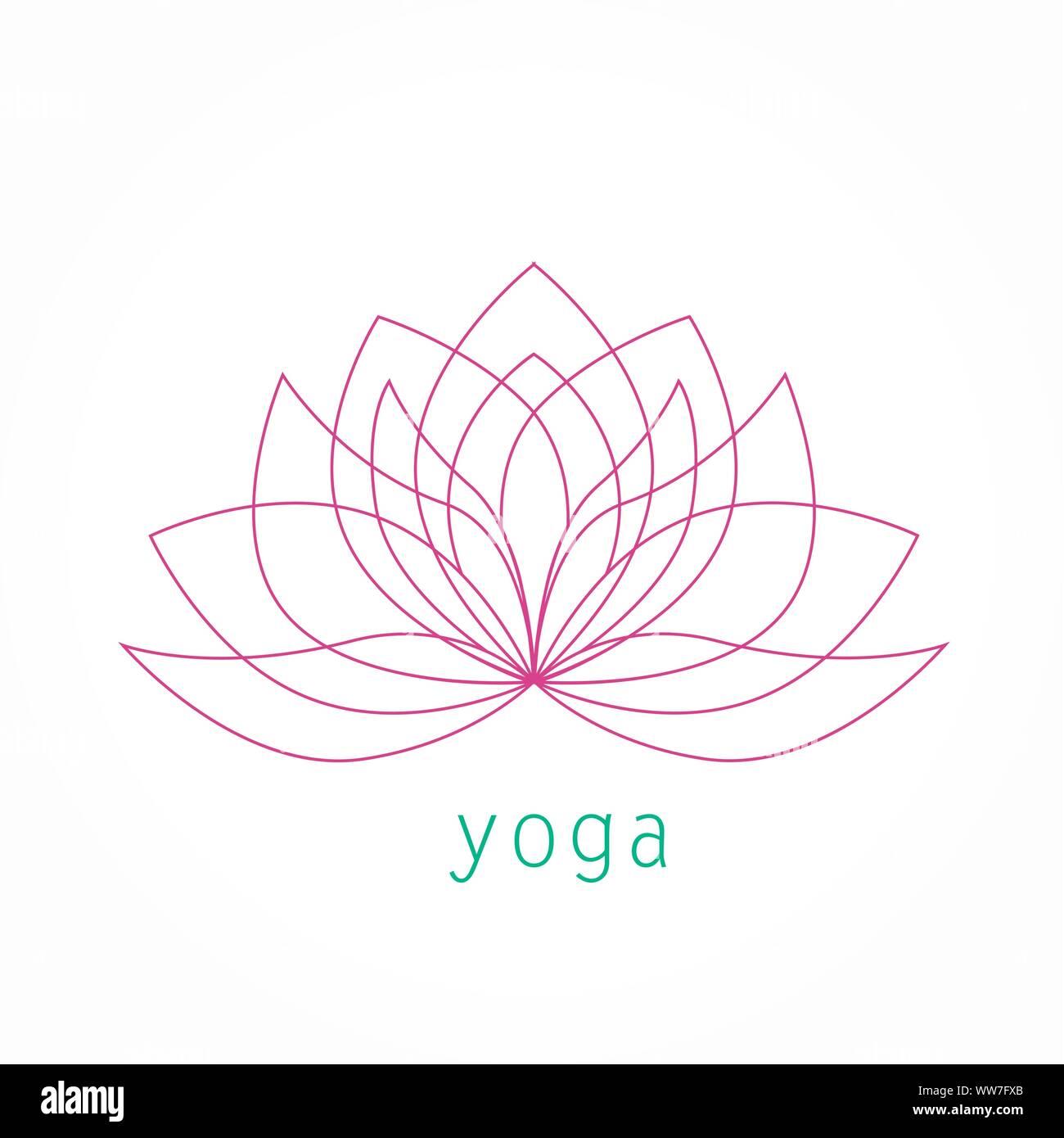 Lotus Flower Thin Line Icon Logo Vector Yoga Symbol Linear Art Illustration Stock Vector Image Art Alamy