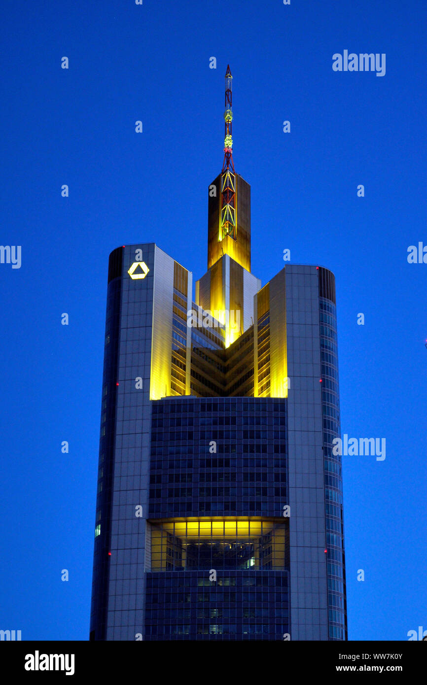 Germany, Hesse, Frankfurt am Main, Commerzbank Tower, in the evening Stock Photo
