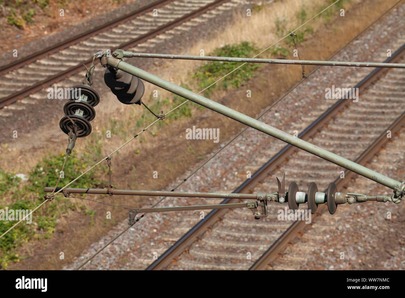 Railway with catenary, Harburg, Hamburg, Germany, Europe Stock Photo
