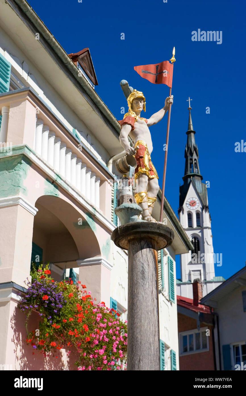 Floriansbrunnen on the Fritzplatz in Bad Tölz Stock Photo