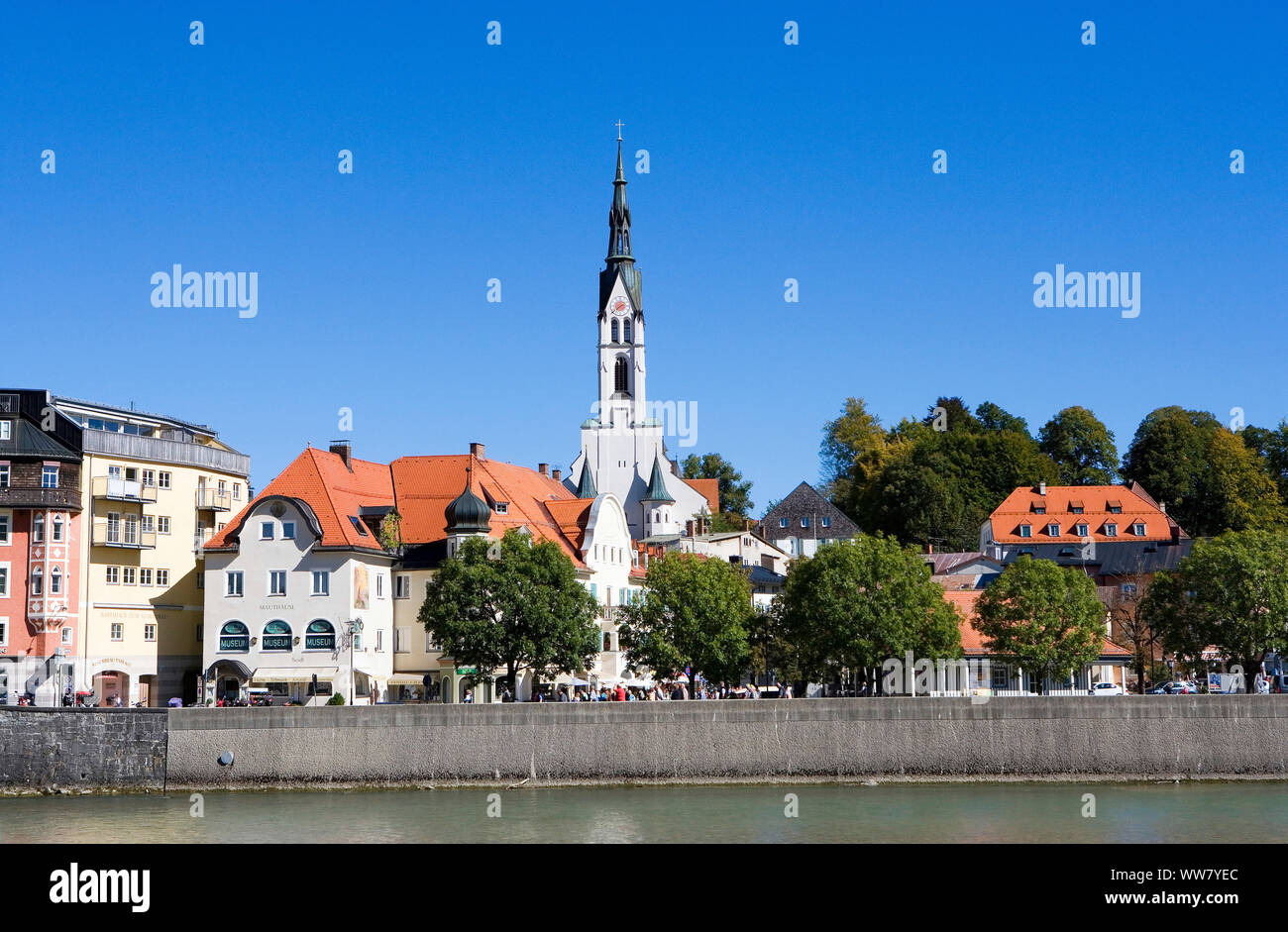 Bad Tölz, view at the old town with the town parish Church of the Assumption of Mary in the city centre Stock Photo