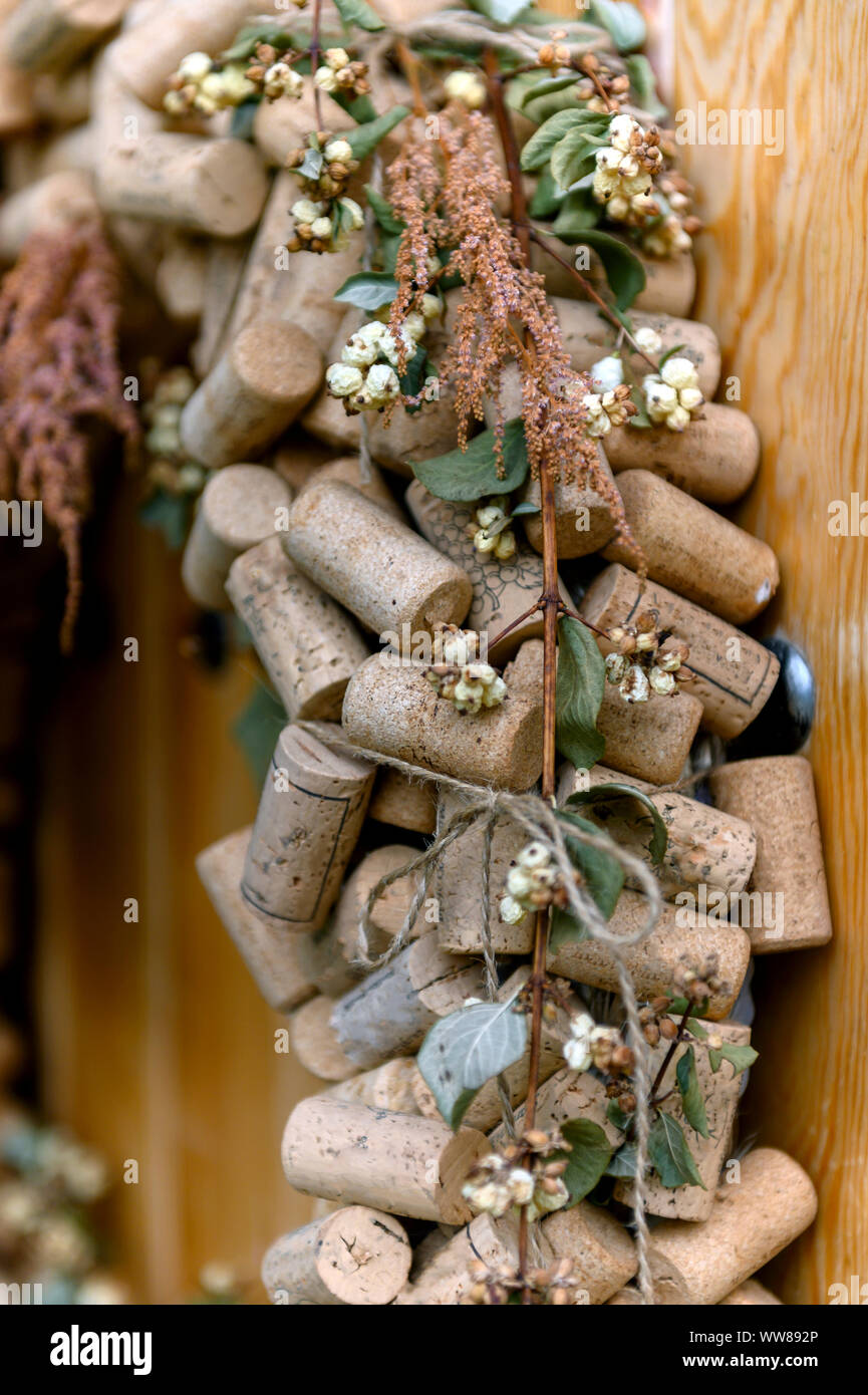 Wine corks decoration on the wooden doods Stock Photo ...