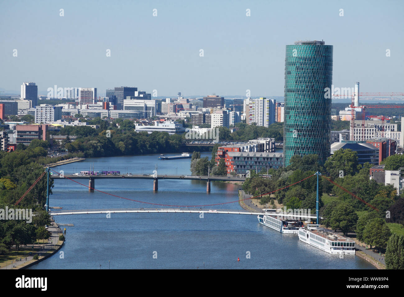 Main with Untermain Bridge and Holbeinsteg and Westhafen Tower, view from the Domturm, Frankfurt, Hesse, Germany, Europe Stock Photo