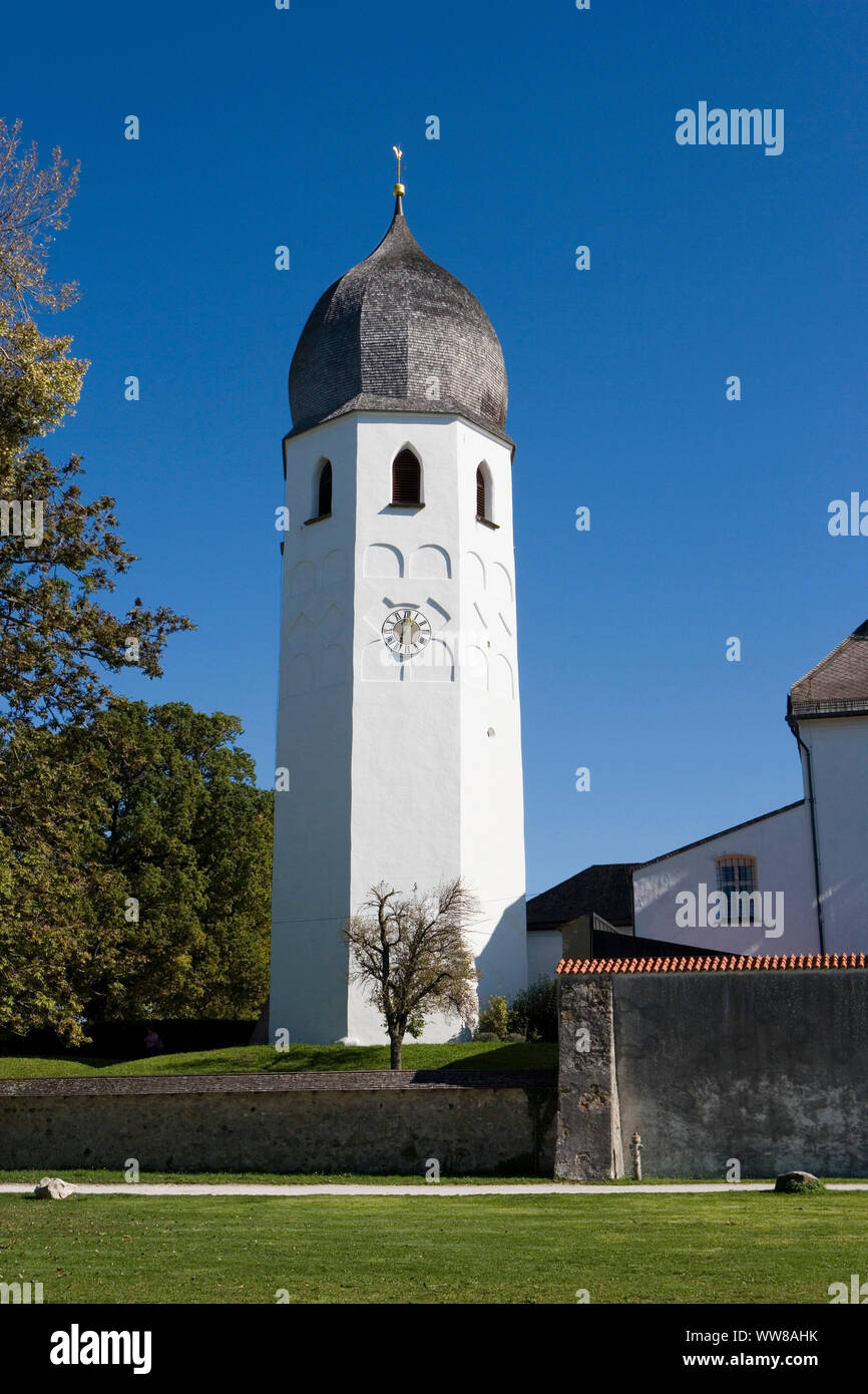 Fraueninsel, Chiemsee, the freestanding bell tower belongs to the Benedictine monastery and the Church of the Sacrifice of the Virgin Mary. Stock Photo