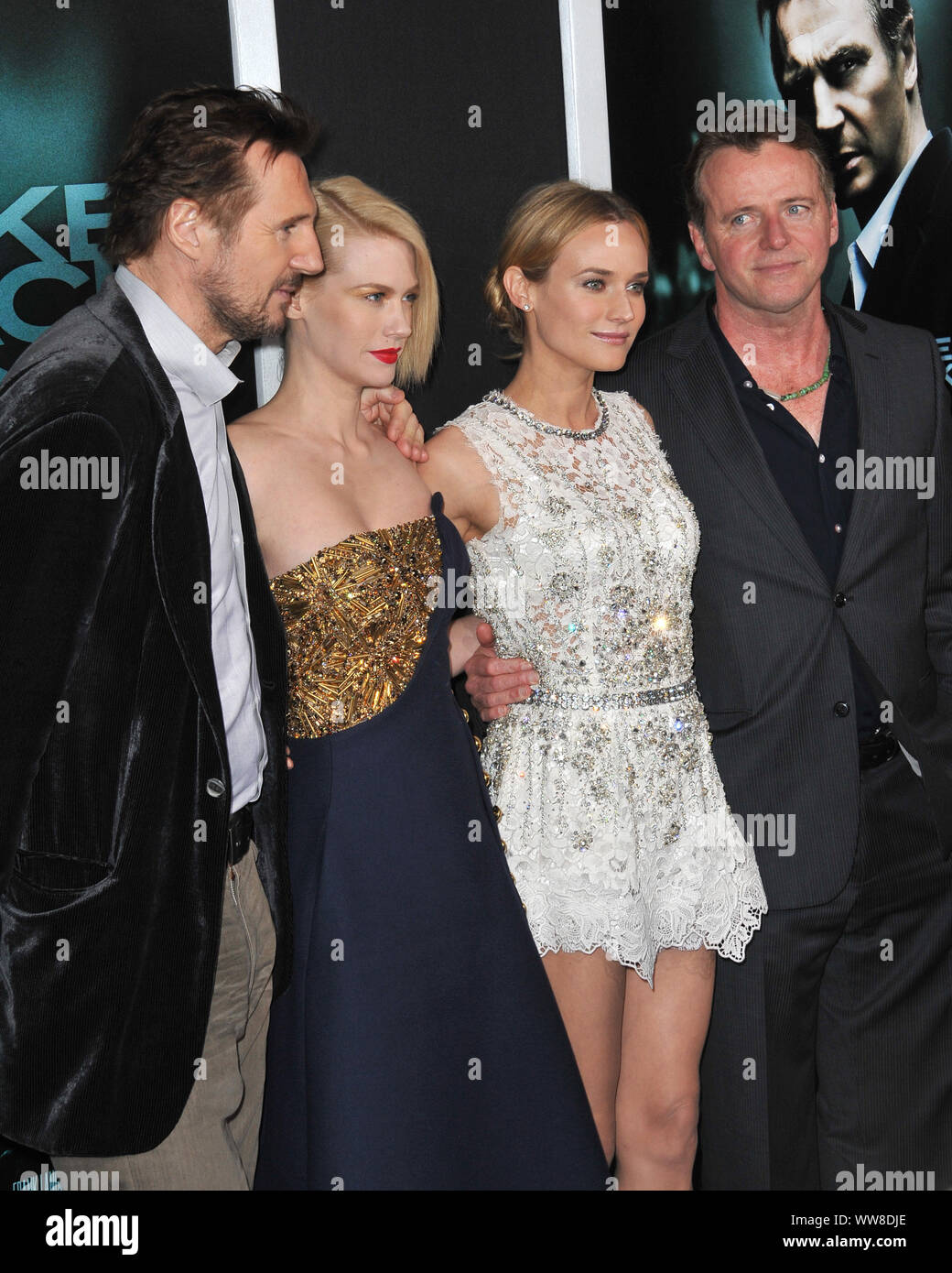 """LOS ANGELES, CA. February 16, 2011: Liam Neeson with January Jones (left) & Diane Kruger & Aidan Quinn (right) at the Los Angeles premiere of their new movie """"Unknown"""" at the Mann Village Theatre, Westwood. © 2011 Paul Smith / Featureflash Stock Photo"""
