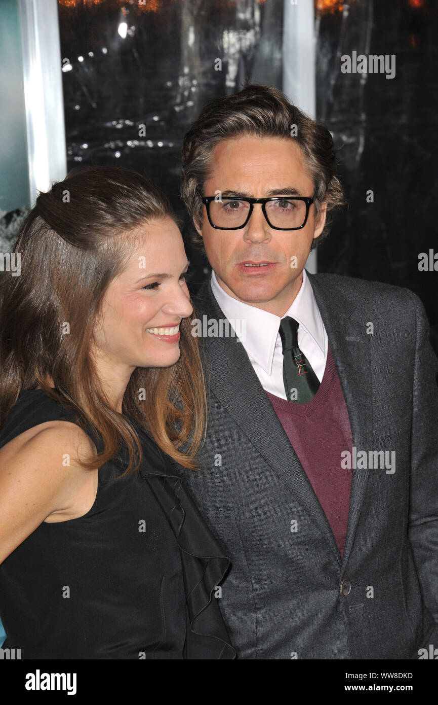"LOS ANGELES, CA. February 16, 2011: Robert Downey Jr & wife Susan Downey at the Los Angeles premiere of ""Unknown"" at the Mann Village Theatre, Westwood. © 2011 Paul Smith / Featureflash Stock Photo"