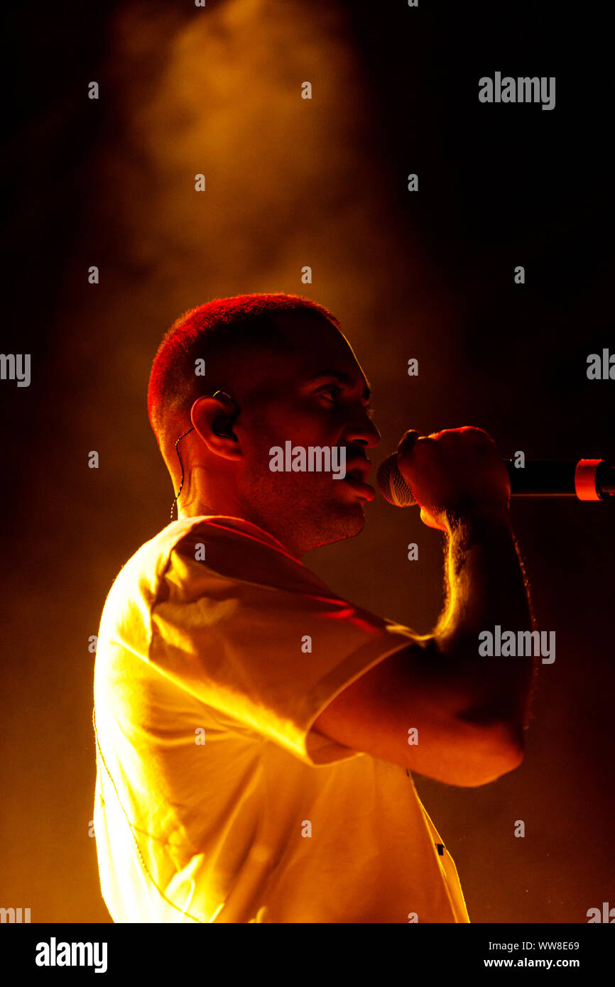 Bologna, ITALY. 13 September, 2019. Italian singer-songwriter Mahmood performs live on September 13, 2019 in Bologna, Italy. Credit: Massimiliano Donati/Alamy Live News Stock Photo