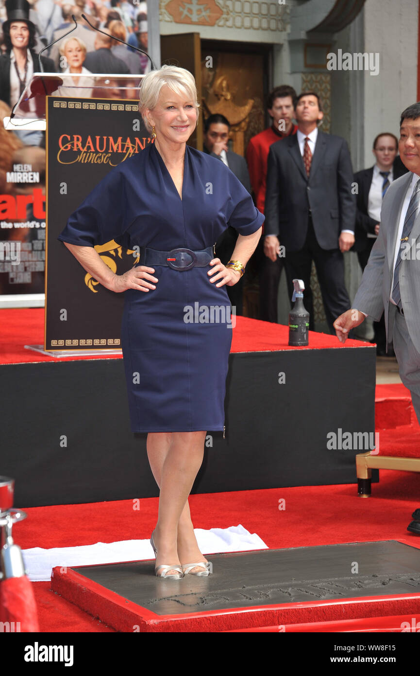 LOS ANGELES, CA. March 28, 2011: Dame Helen Mirren at Grauman's Chinese Theatre where she was honored by having her hand & footprints set in cement. © 2011 Paul Smith / Featureflash Stock Photo