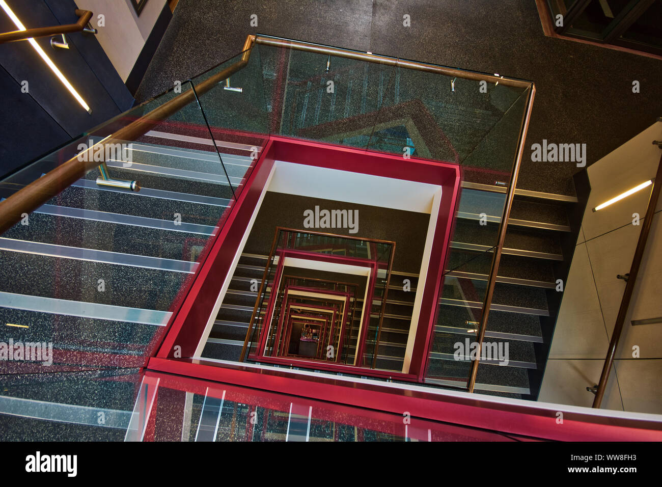 Looking down the stairwells in one of best kept London architecture, England, U.K. Stock Photo