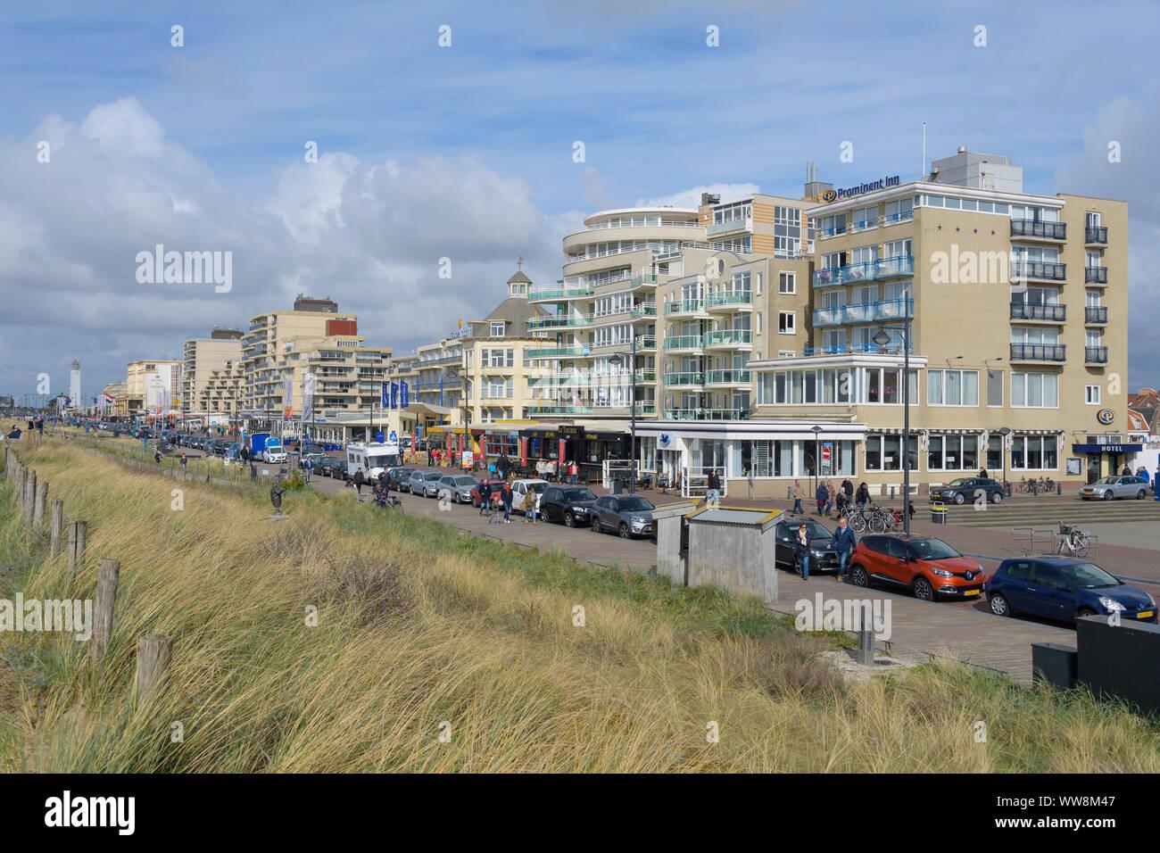 Shore street, kon. wilhelmina boulevard, with hotels, Noordwijk aan Zee, North sea, South Holland, Netherlands Stock Photo