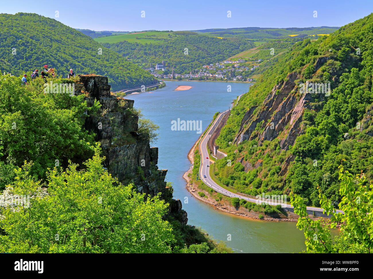 Rhine valley south of the Loreley rock with view towards Oberwesel, Rhine, Middle Rhine valley, Rhineland-Palatinate, West Germany, Germany Stock Photo