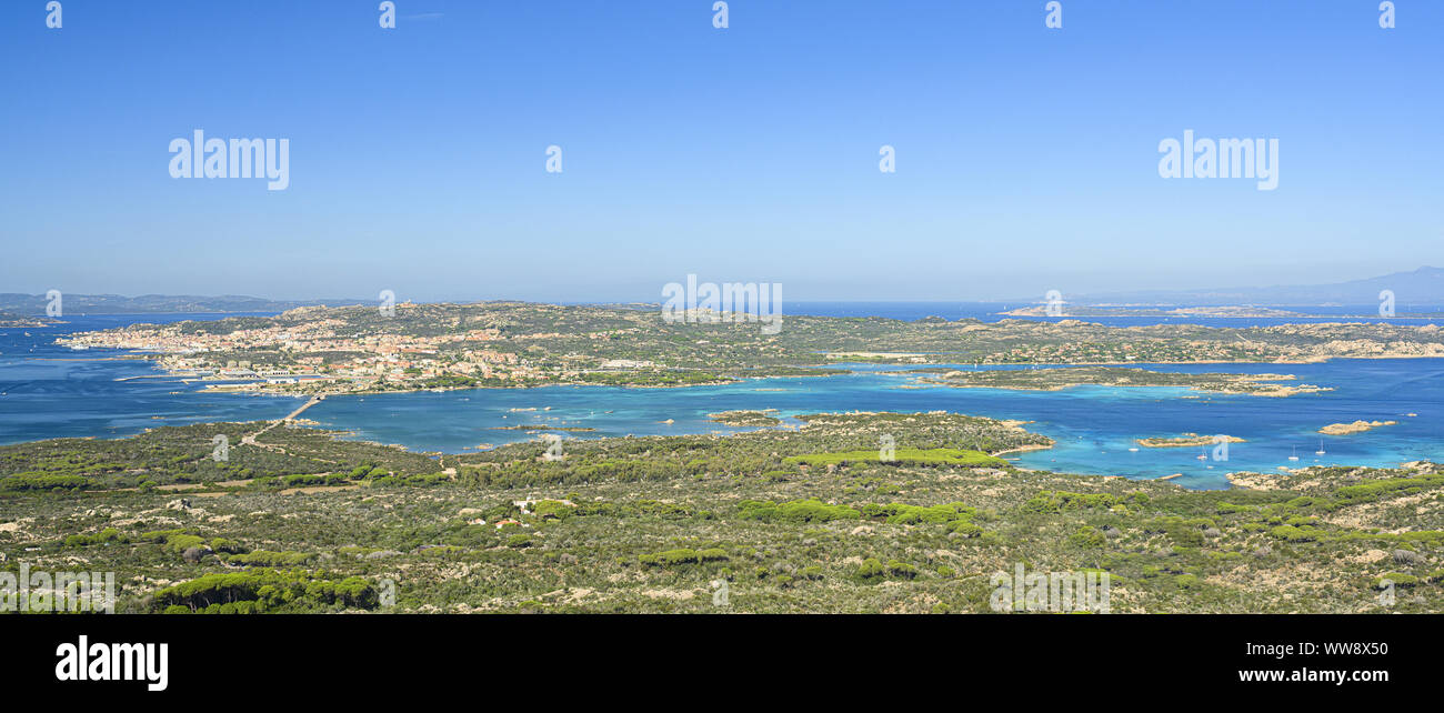 View from above, stunning aerial view of La Maddalena Archipelago with its beautiful bays bathed by a turquoise clear water. La Maddalena Archipelago. Stock Photo
