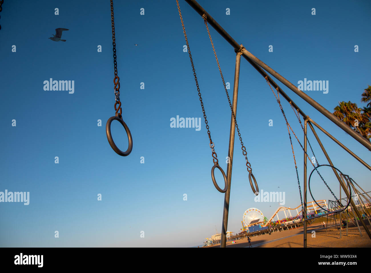Travelling Rings for exercise at muscle beach jungle gym on in Santa Monica, California at early morning Stock Photo