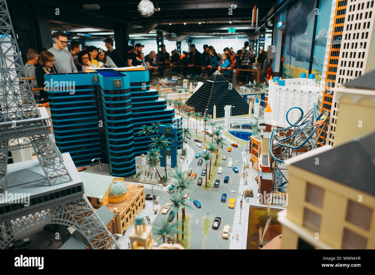 A miniature version of the Las Vegas strip in the America section of Miniatur Wunderland in Hamburg, Germany Stock Photo