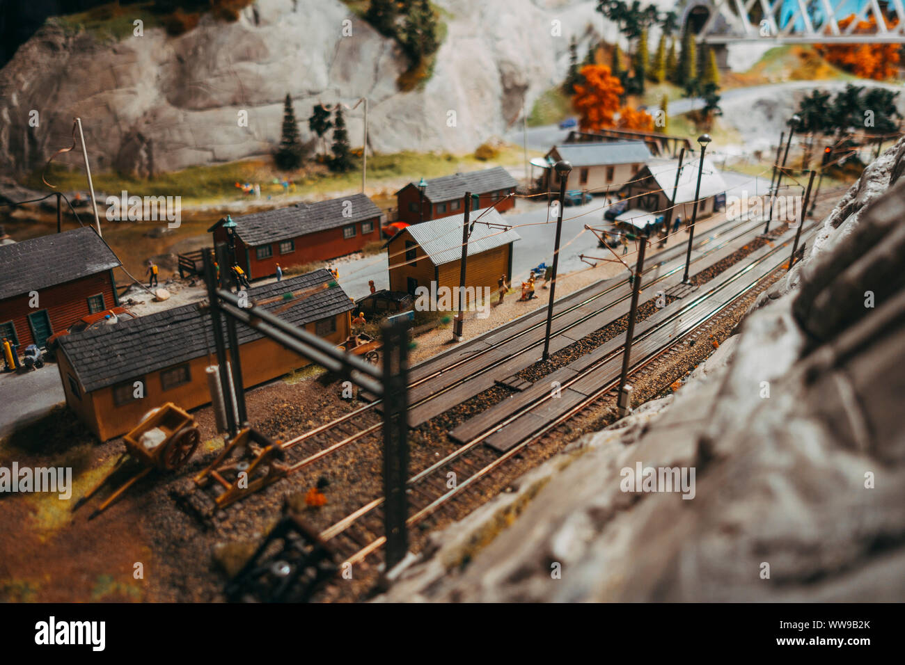 Autumn leaves in a model rail yard at Miniatur Wunderland, Hamburg Stock Photo