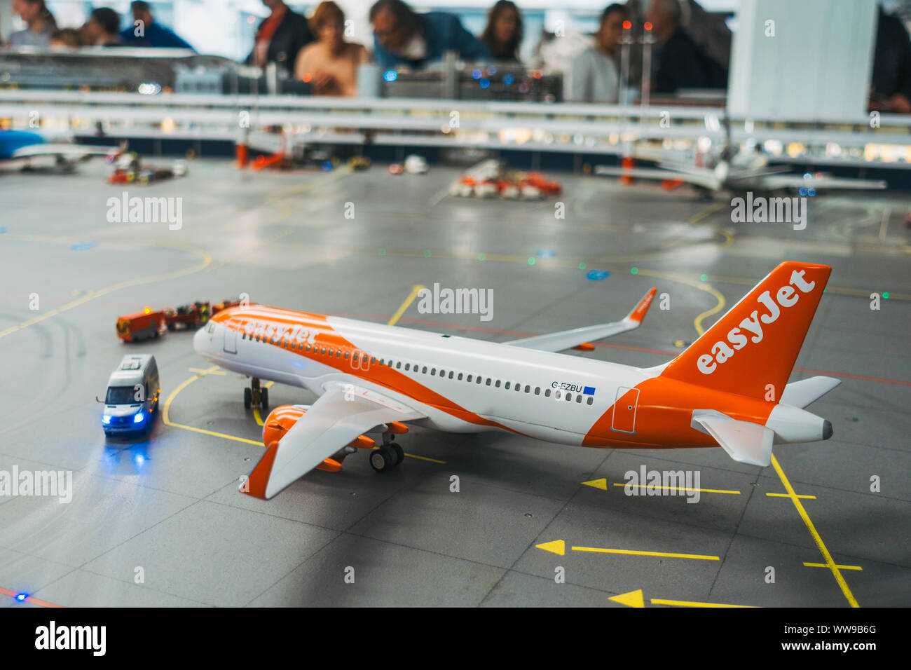 a scale model easyJet Airbus A320 sits parked on the tarmac at the famous Knuffingen Airport at Miniatur Wunderland in Hamburg Stock Photo