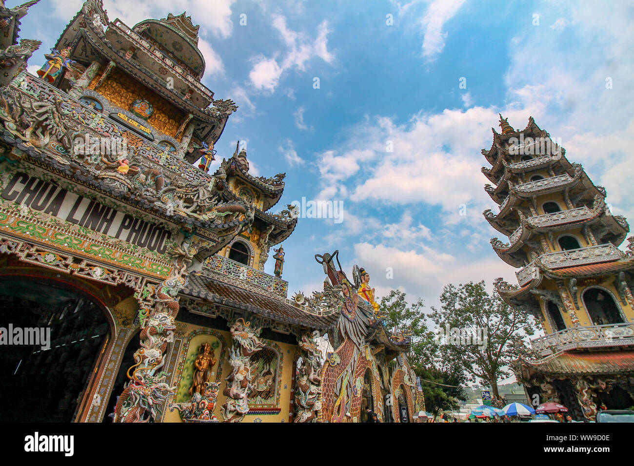 Linh Phuoc Pagoda or Ve Chai Pagoda, buddhist shrine covered in mosaic art in Da lat, Vietnam and free of charge to visit for both locals and tourist Stock Photo