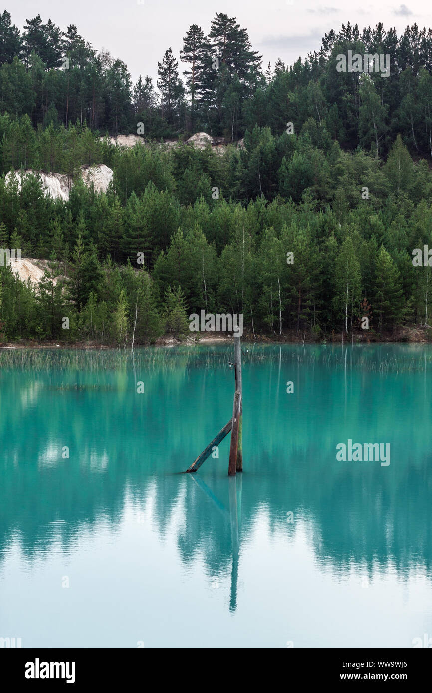 Electric pillar sticking out of the middle of a pond Stock Photo