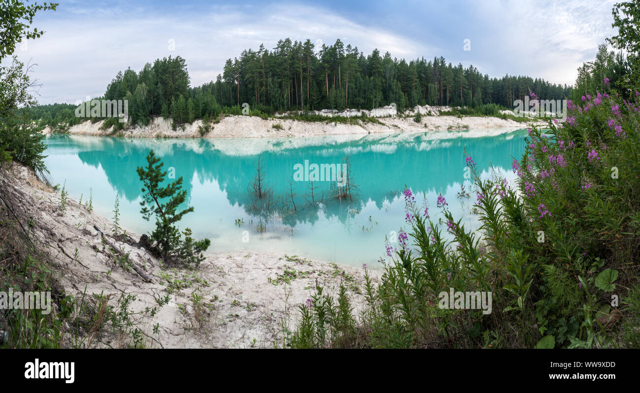 Abandoned flooded clay quarry in the middle of forest Stock Photo