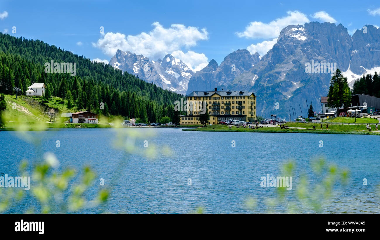 Lake Misurina is the largest natural lake of the Cadore and it is 1,754 m above sea level. The lake's perimeter is 2.6 km long, while the maximum dept Stock Photo