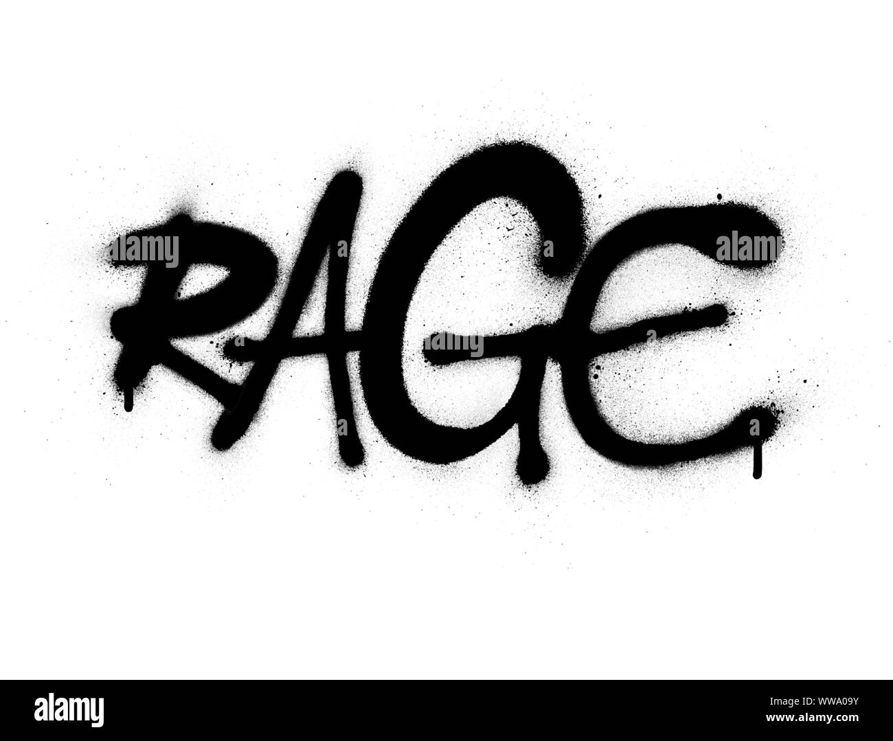 graffiti rage word font sprayed in black over white Stock Vector