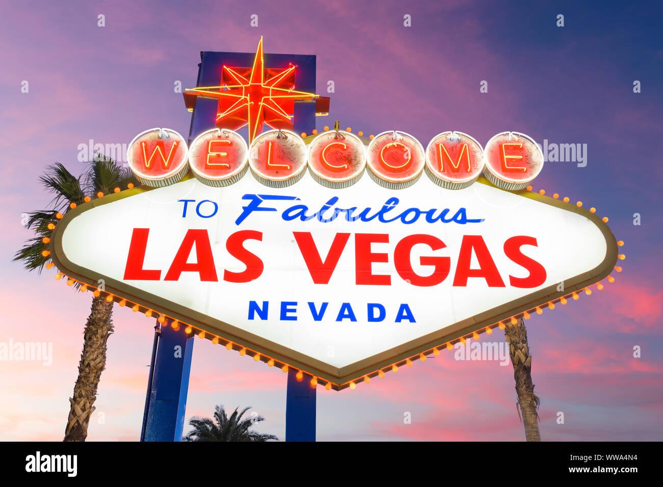 Las Vegas, Nevada, USA at the Welcome to Las Vegas Sign. Stock Photo