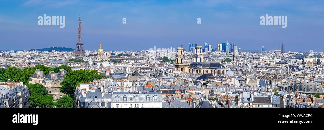 Paris, panorama of the Eiffel tower, with the Seine and bridges, and the most famous monuments Stock Photo