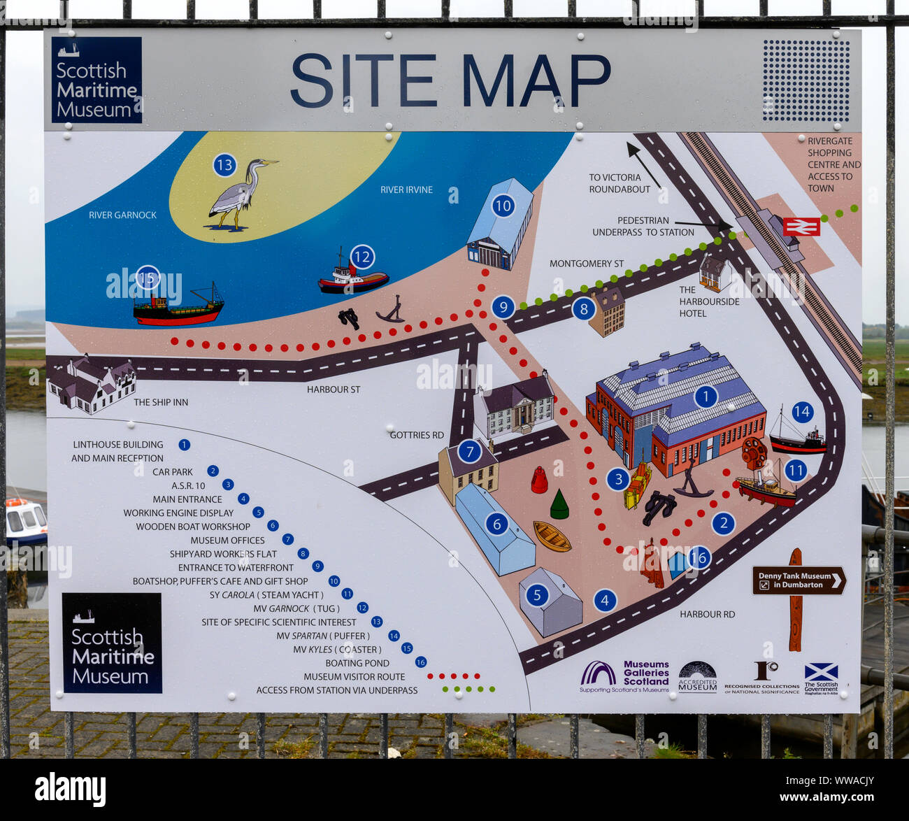 Site map for the Scottish Maritime Museum situated at Harbour Road, Irvine, Ayrshire, Scotland, UK Stock Photo