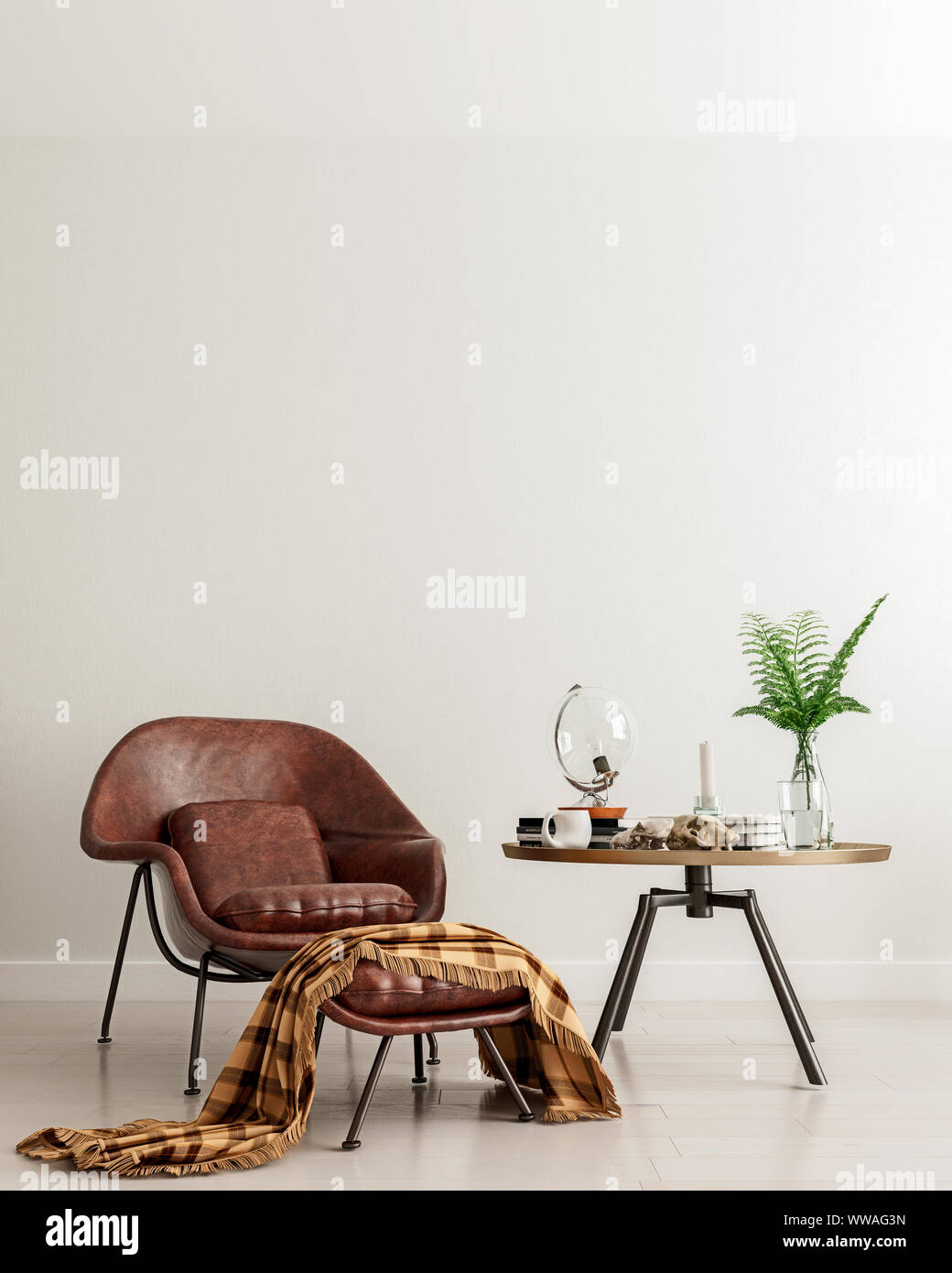 Mock up wall with brown leather chair and metal table in modern ...