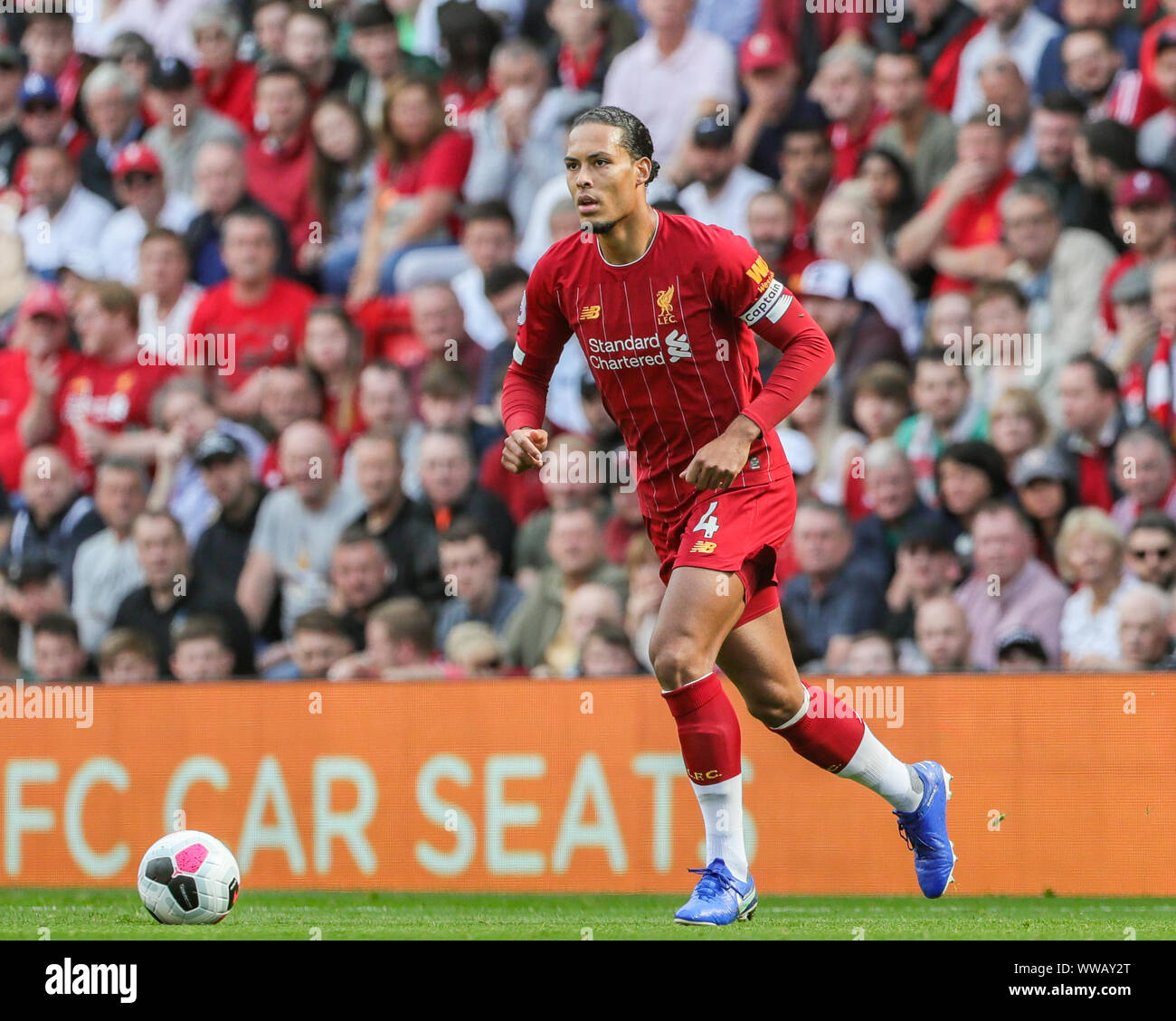 14th September 2019 , Anfield, Liverpool, England; Premier League Football,  Liverpool vs Newcastle United ; Virgil van Dijk (4) of Liverpool during the  game Credit: Mark Cosgrove/News Images Premier League/EFL Football images