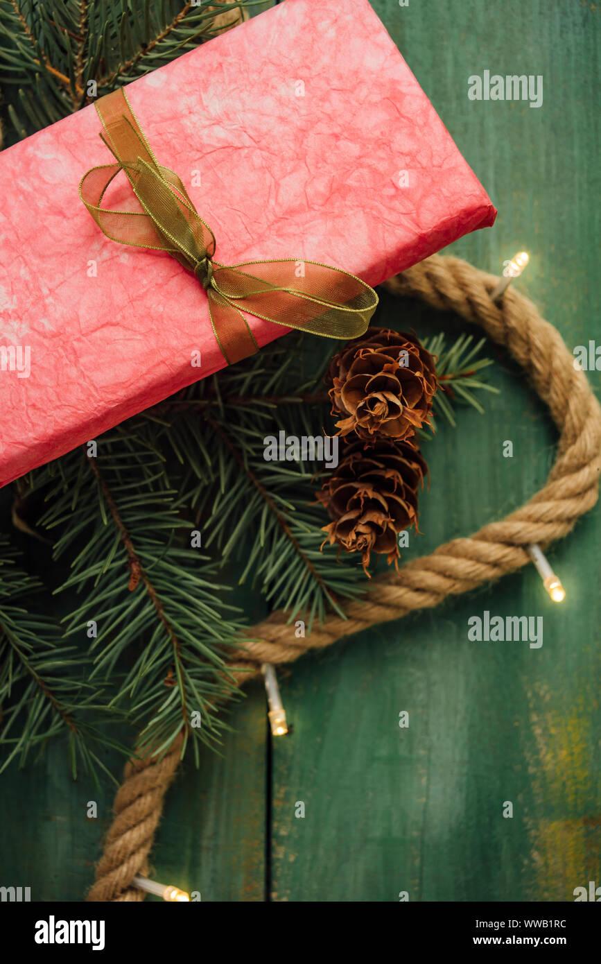 Pink gift with Christmas lights Stock Photo