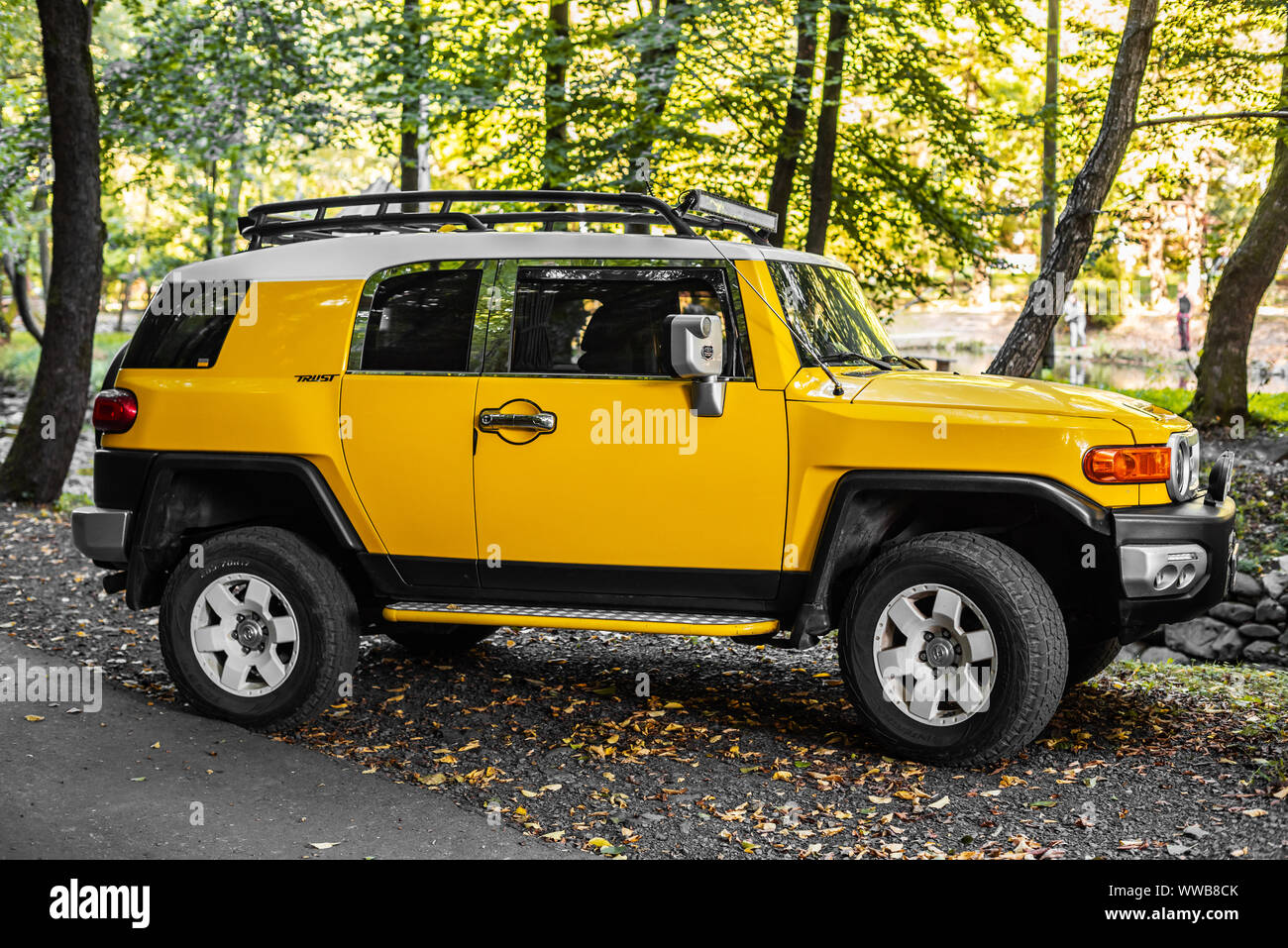 Toyota FJ Cruiser in the forest. Stock Photo