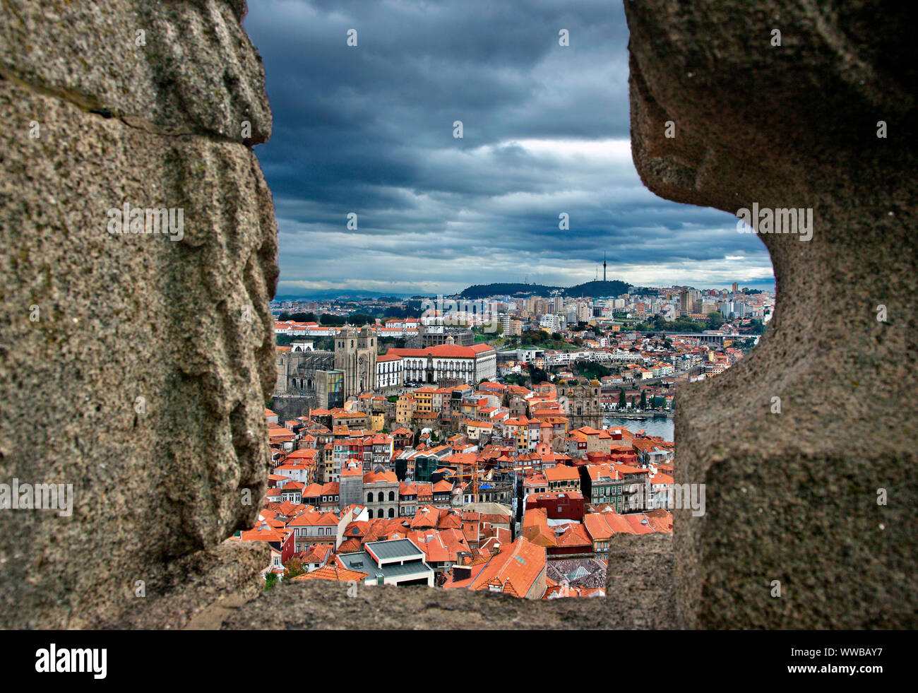 View of Se neighborhood and the Cathedral of Se from Torre dos Clerigos. Porto city, Portugal Stock Photo