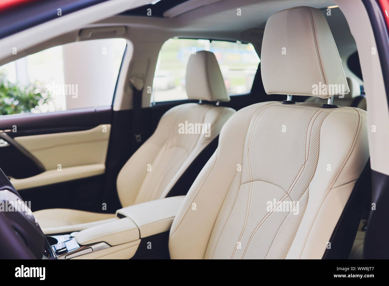 Car Inside Driver Place Interior Of Prestige Modern Car Front Seats With Steering Wheel Dashboard Beige Cockpit With Metal Decoration Panoramic Roo Stock Photo Alamy