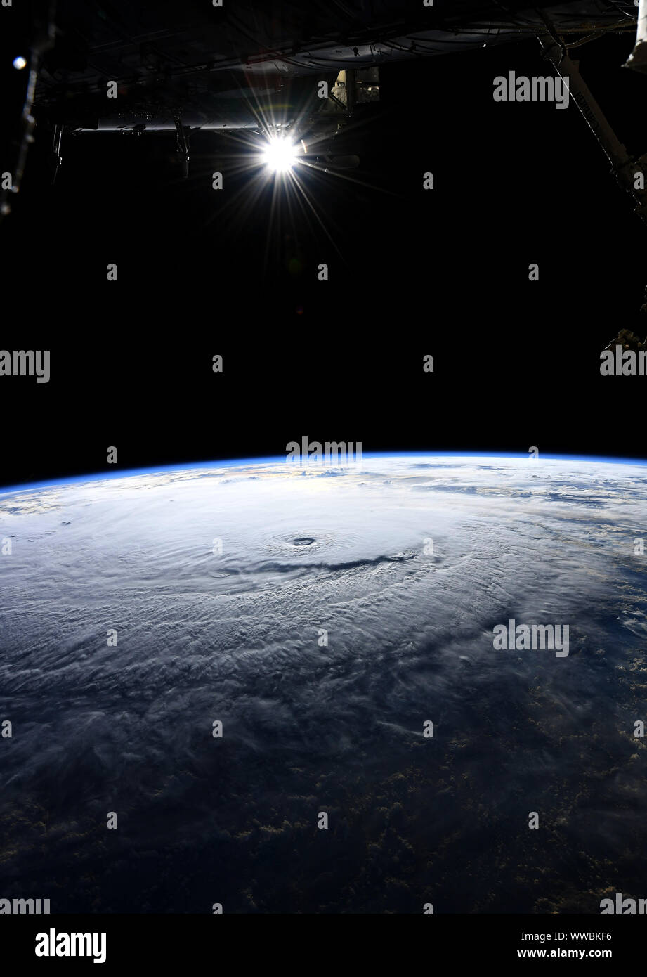 Hurricane Lane, near Hawaii, Pacific ocean, August 23, 2018, by NASA/Ricky Arnold/ISS/DPA Stock Photo