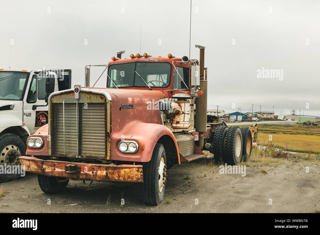 An old Kenworth truck w900 model 1970 - 71 parked outside in the center of Nome, Alaska. Stock Photo