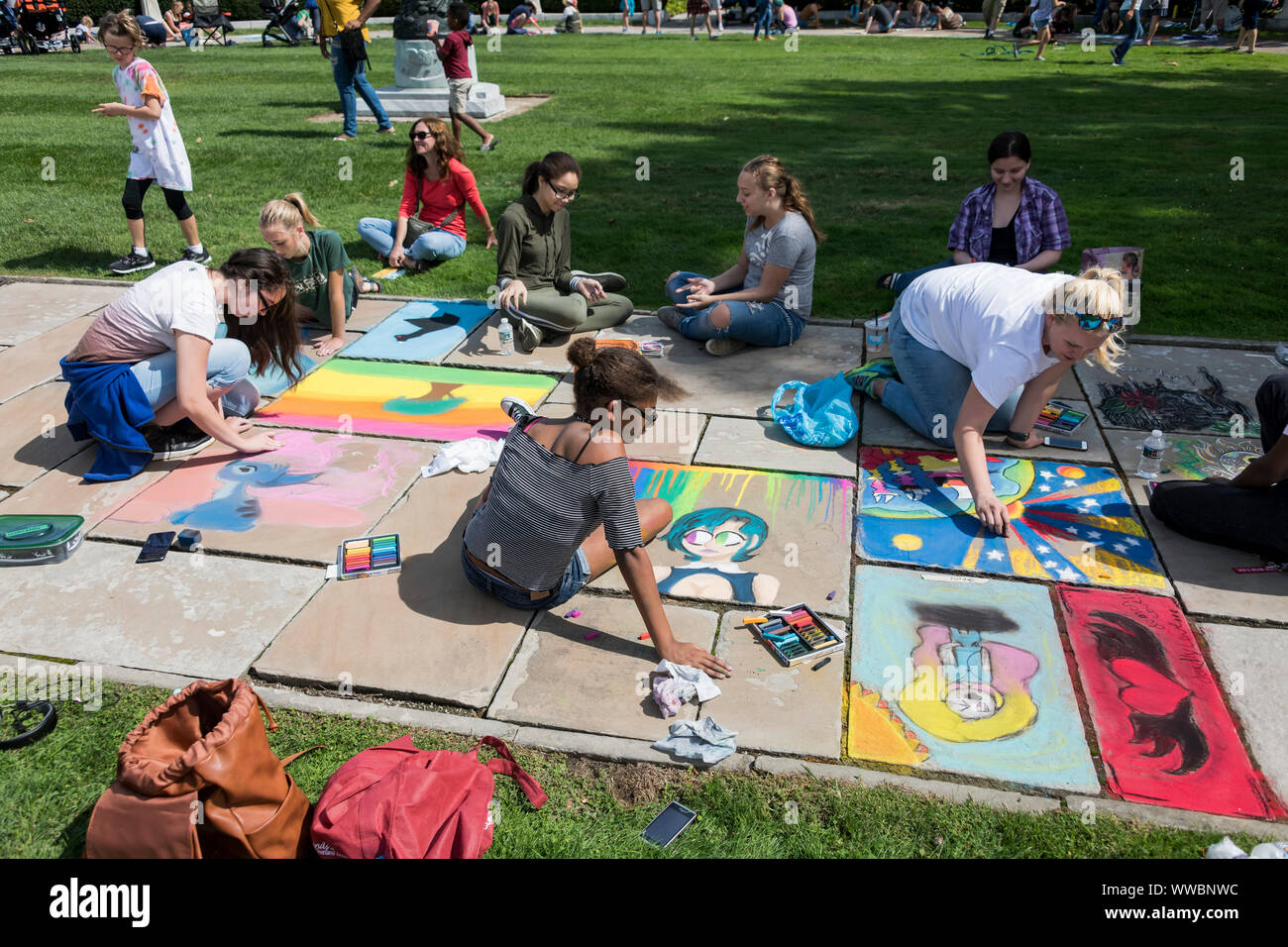 Chalk Festival at the Cleveland Museum of Art in Cleveland Ohio in September 2019. Members of the community were invited to create chalk art. Stock Photo