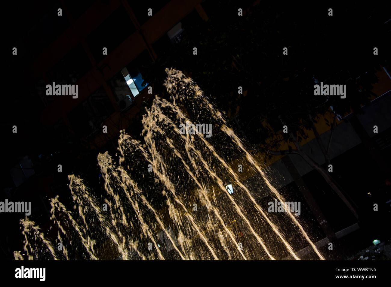 water fountain by night lima Peru Stock Photo