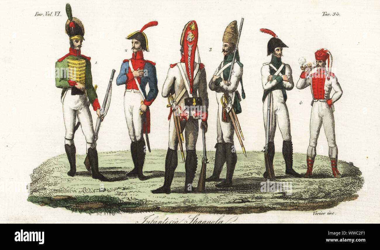 Uniforms of the Spanish Army, 1800s. Catalan light infantryman 1, artilleryman 2, grenadiers 3, other soldiers 4. Infanteria Spagnola. Handcoloured copperplate engraving by Verico after Giulio Ferrario in his Costumes Ancient and Modern of the Peoples of the World, Il Costume Antico e Modern o Story, Florence, 1829. Stock Photo
