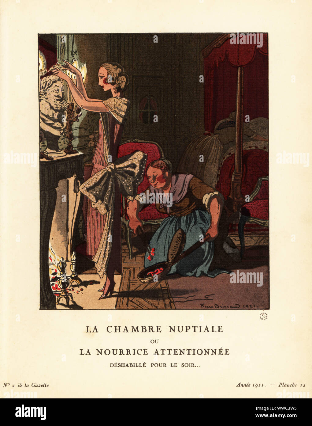 Woman in dress of pleated crepe georgette with gold lace in front of a fireplace on her wedding night. A maid puts coals in a bed warmer. La chambre nuptiale ou la nourrice attentionnee. Deshabille pour le soir. Deshabille de crepe georgette plisse et dentelle d'or formant echarpe. Plate 12, Issue 2, 1921. Handcoloured pochoir lithograph by Pierre Brissaud from Lucien Vogel's Le Bon Genre: 100 Plates from Gazette du Bon Ton, Brentano's, Paris, 1922. Stock Photo