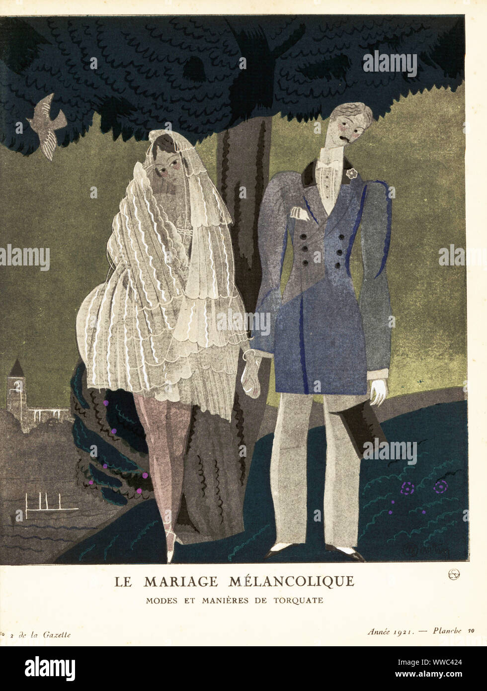 Bride in short wedding dress and groom on the island of Torquate. Le Mariage Mélancolique: variété du mariage, tel qu'il est célébré à Torquate. Plate 10, Vol. 1.2, 1921. Handcoloured pochoir lithograph by Charles Martin from Lucien Vogel's Le Bon Genre: 100 Plates from Gazette du Bon Ton, Brentano's, Paris, 1922. Stock Photo