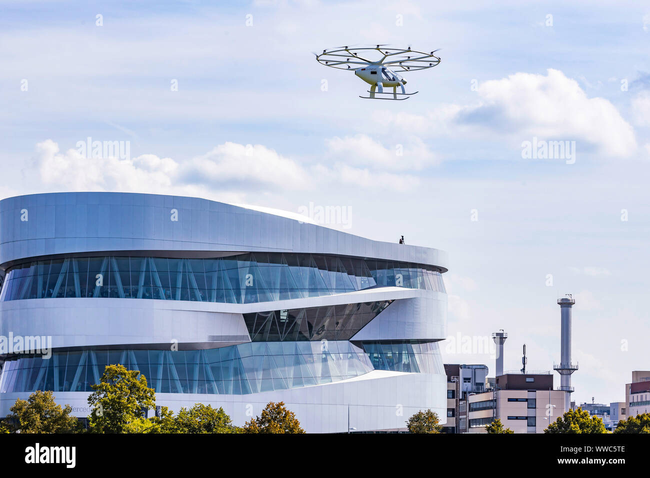Individual Transport of the Future: First flight of a Velocopter at the Mercedes Museum Stuttgart. Stock Photo
