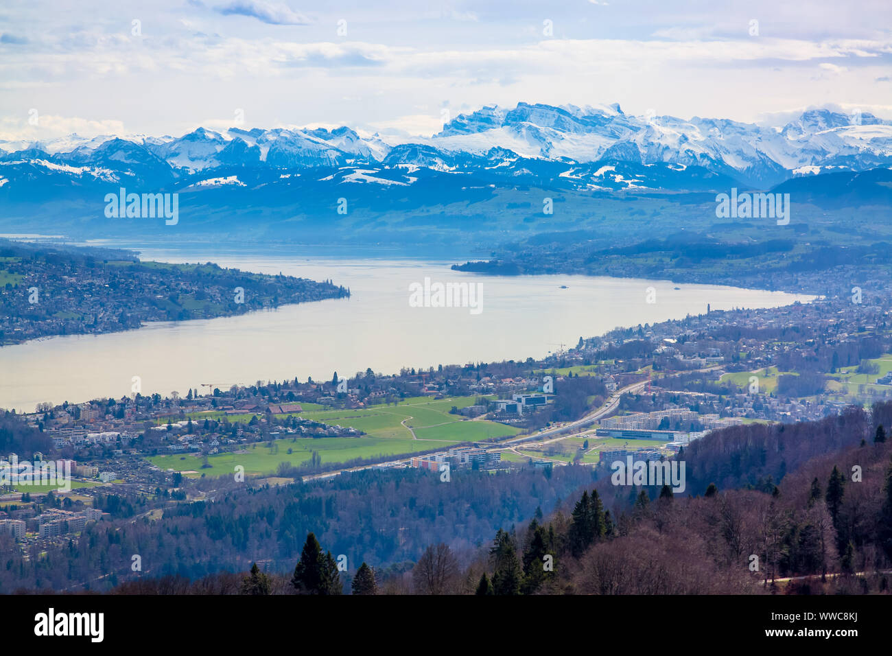 Panorama of Zurich city and lake from Uetliberg mountain in Switzerland Stock Photo